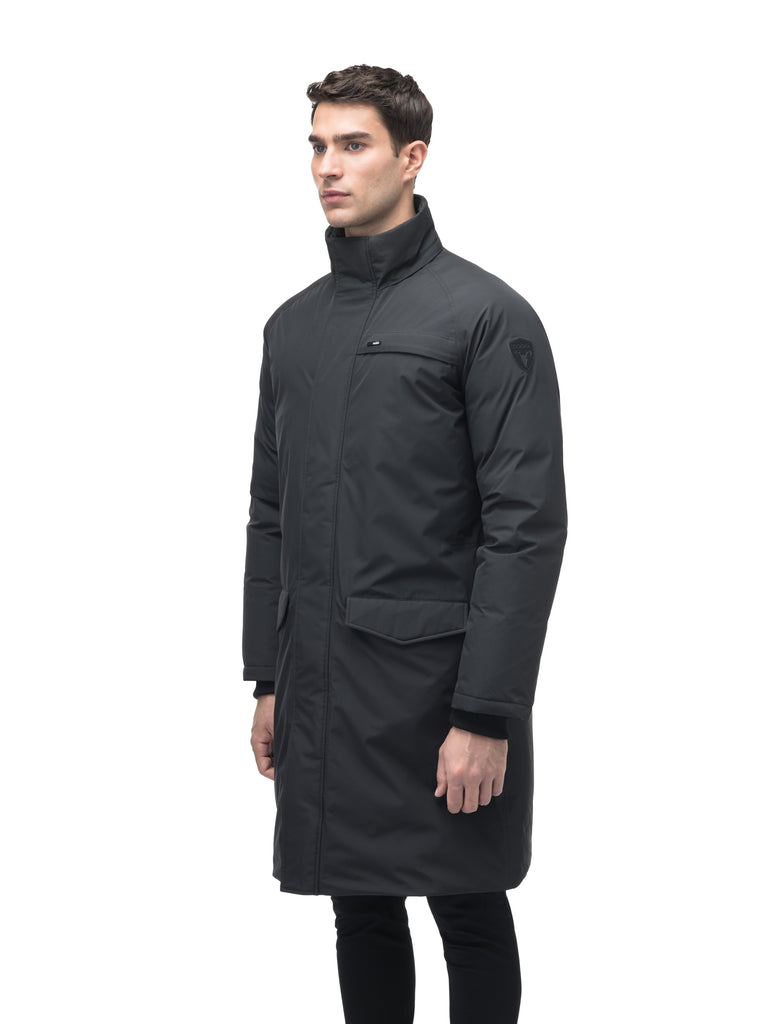 Men's knee length down-filled parka with removable hood in Black| color