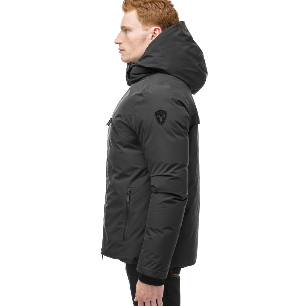 Hip length, reversible men's down filled jacket with removable hood in Black | color