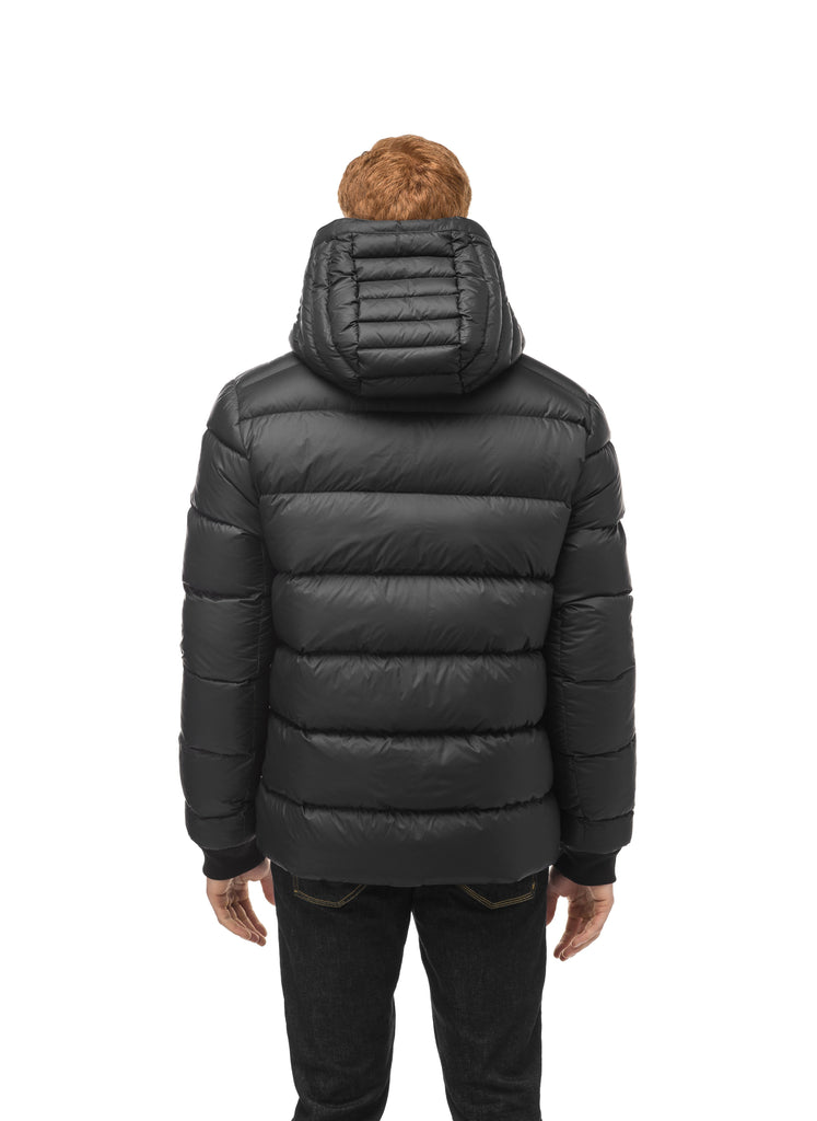 Hip length, reversible men's down filled jacket with removable hood in Black| color