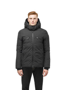 Hip length, reversible men's down filled jacket with removable hood in Black