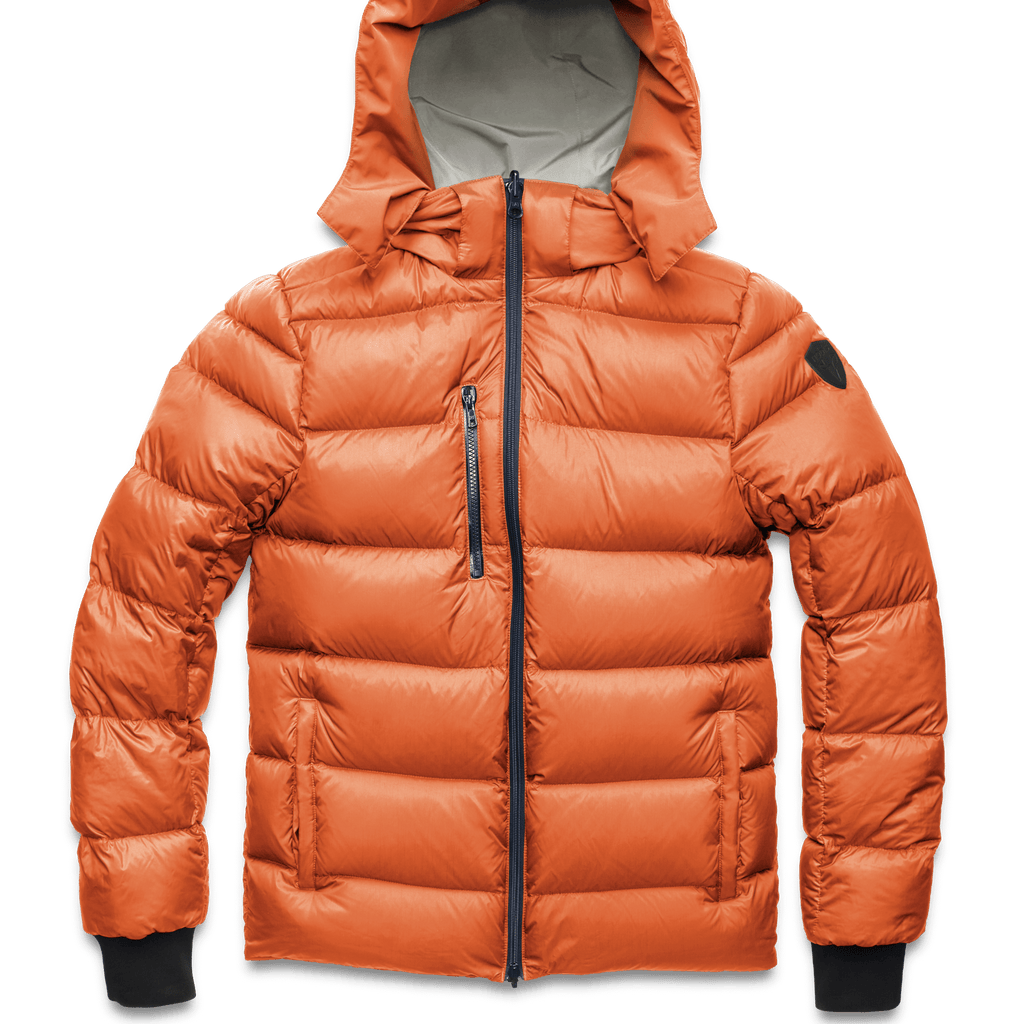 Hip length, reversible men's down filled jacket with removable hood in Chalk/Atomic | color