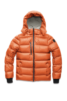 Hip length, reversible men's down filled jacket with removable hood in Chalk/Atomic