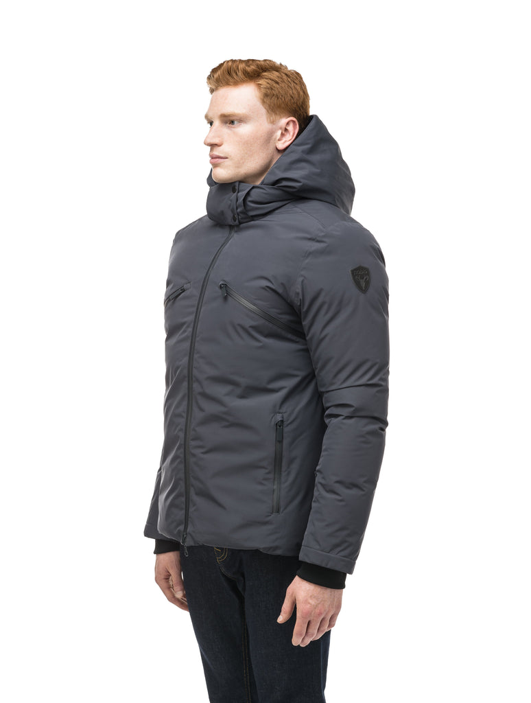 Hip length, reversible men's down filled jacket with removable hood in Marine| color