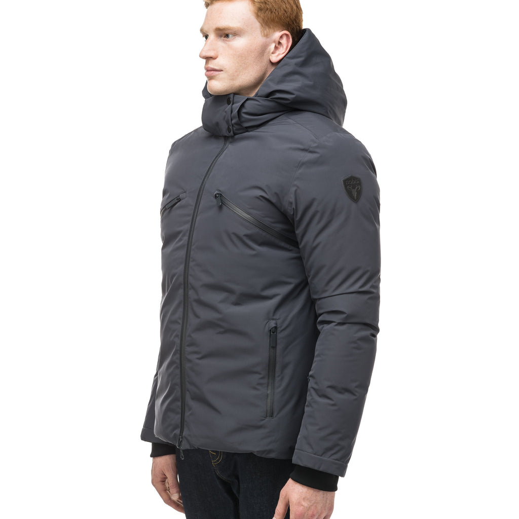Hip length, reversible men's down filled jacket with removable hood in Marine | color