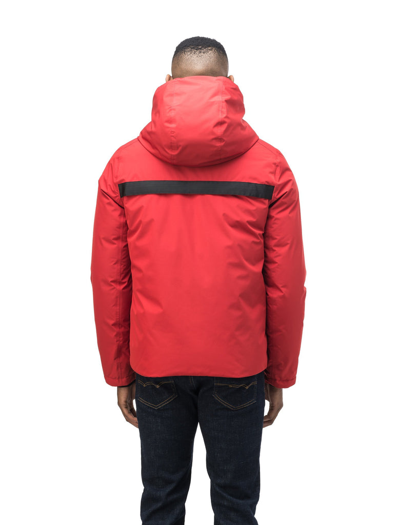 Hip length, reversible men's down filled jacket with removable hood in Vermillion| color