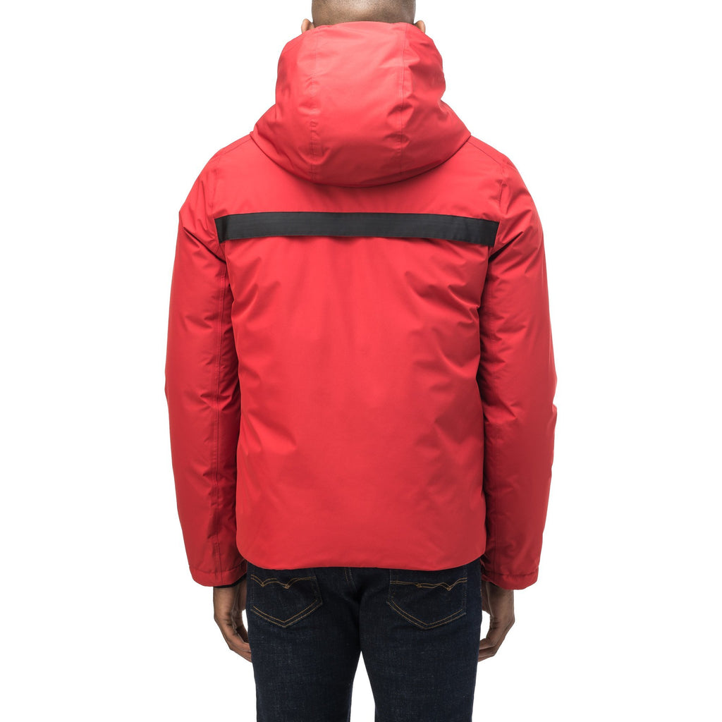 Hip length, reversible men's down filled jacket with removable hood in Vermillion | color
