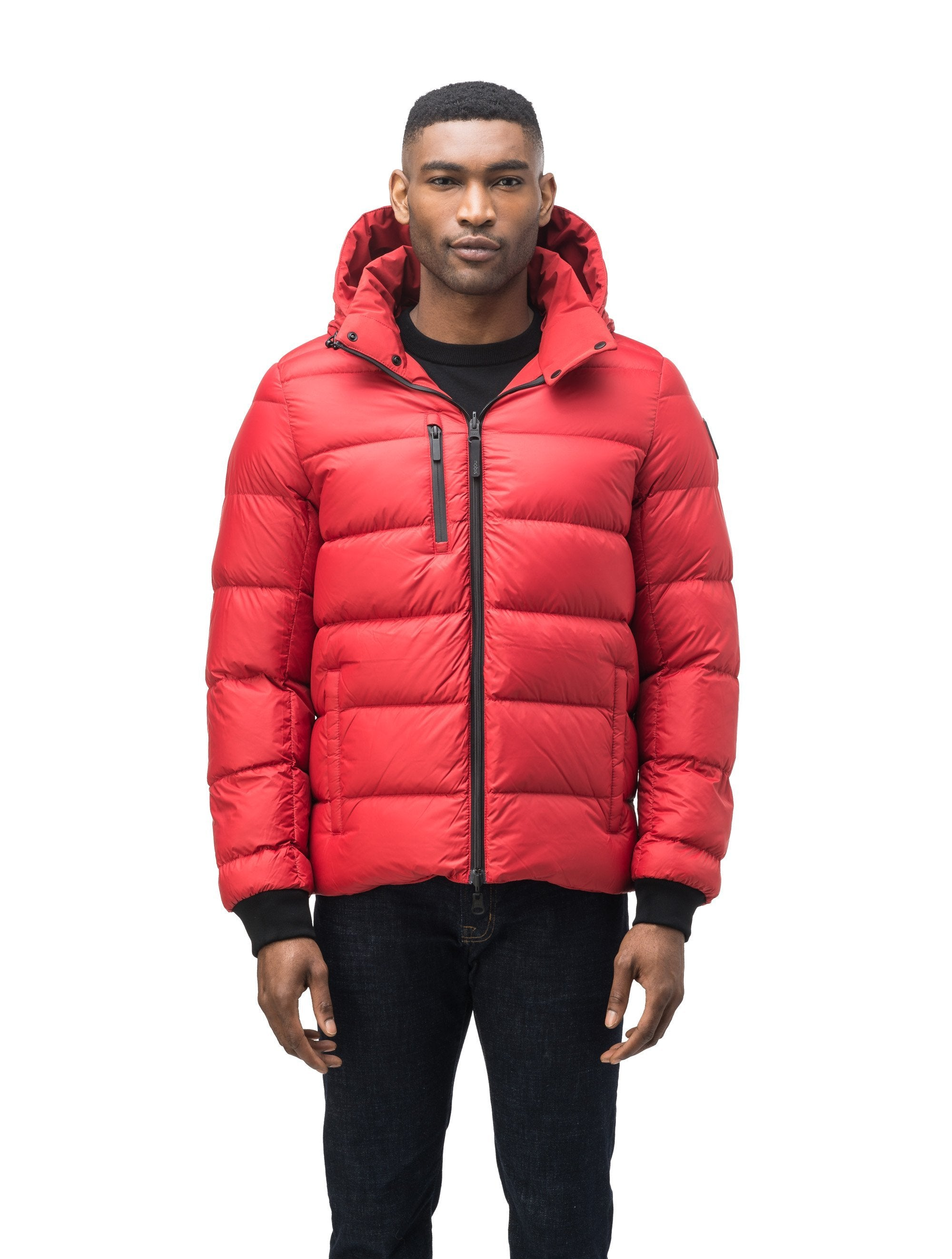 Hip length, reversible men's down filled jacket with removable hood in Vermillion