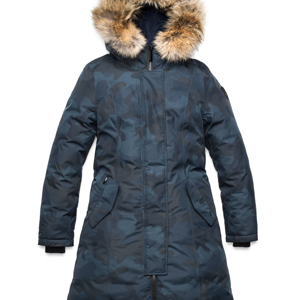 Ladies thigh length down-filled parka with non-removable hood and removable coyote fur trim in Navy Camo | color