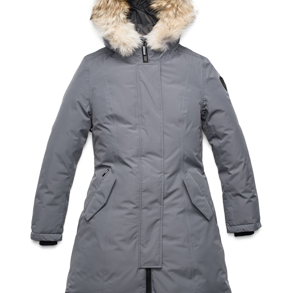 Ladies thigh length down-filled parka with non-removable hood and removable coyote fur trim in Concrete | color