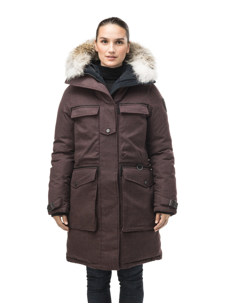Women's extreme parka with our highest down filling and a removable down filled hood in H. Burgundy| color