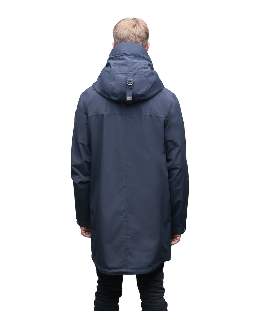 Men's thigh length hooded rain jacket with non-removable hood in Navy| color