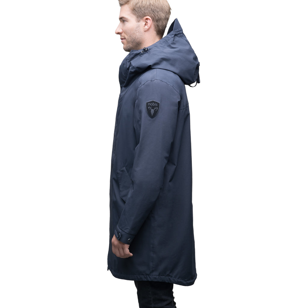 Men's thigh length hooded rain jacket with non-removable hood in Navy | color