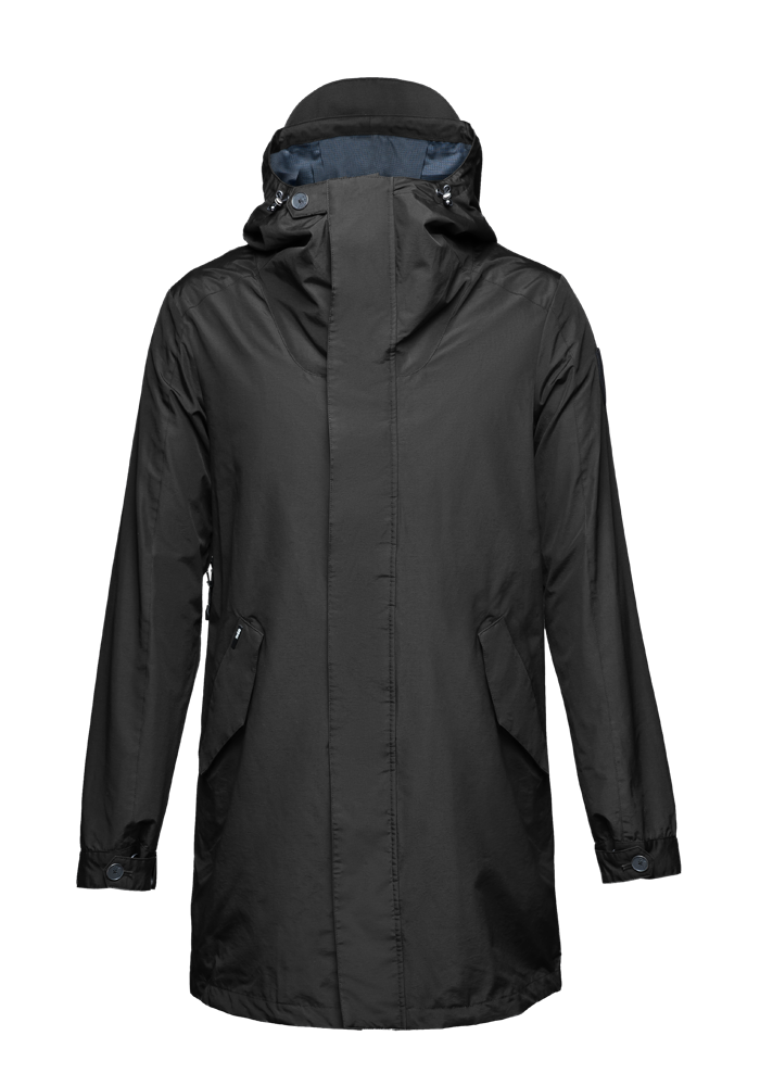 Men's thigh length hooded rain jacket with non-removable hood in Black| color