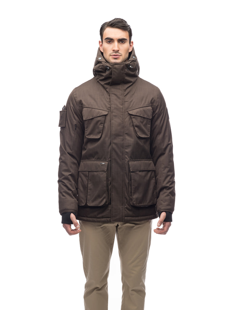 Waist length men's down filled parka with four patch pockets in CH Brown