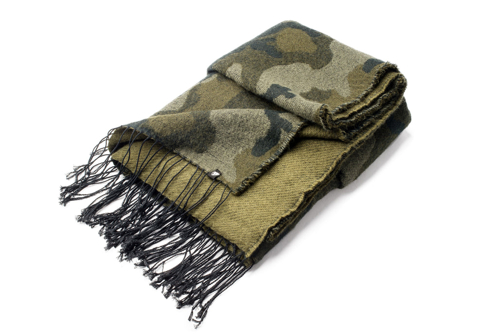Oversized Camo print acrylic scarf with fringe trim | color