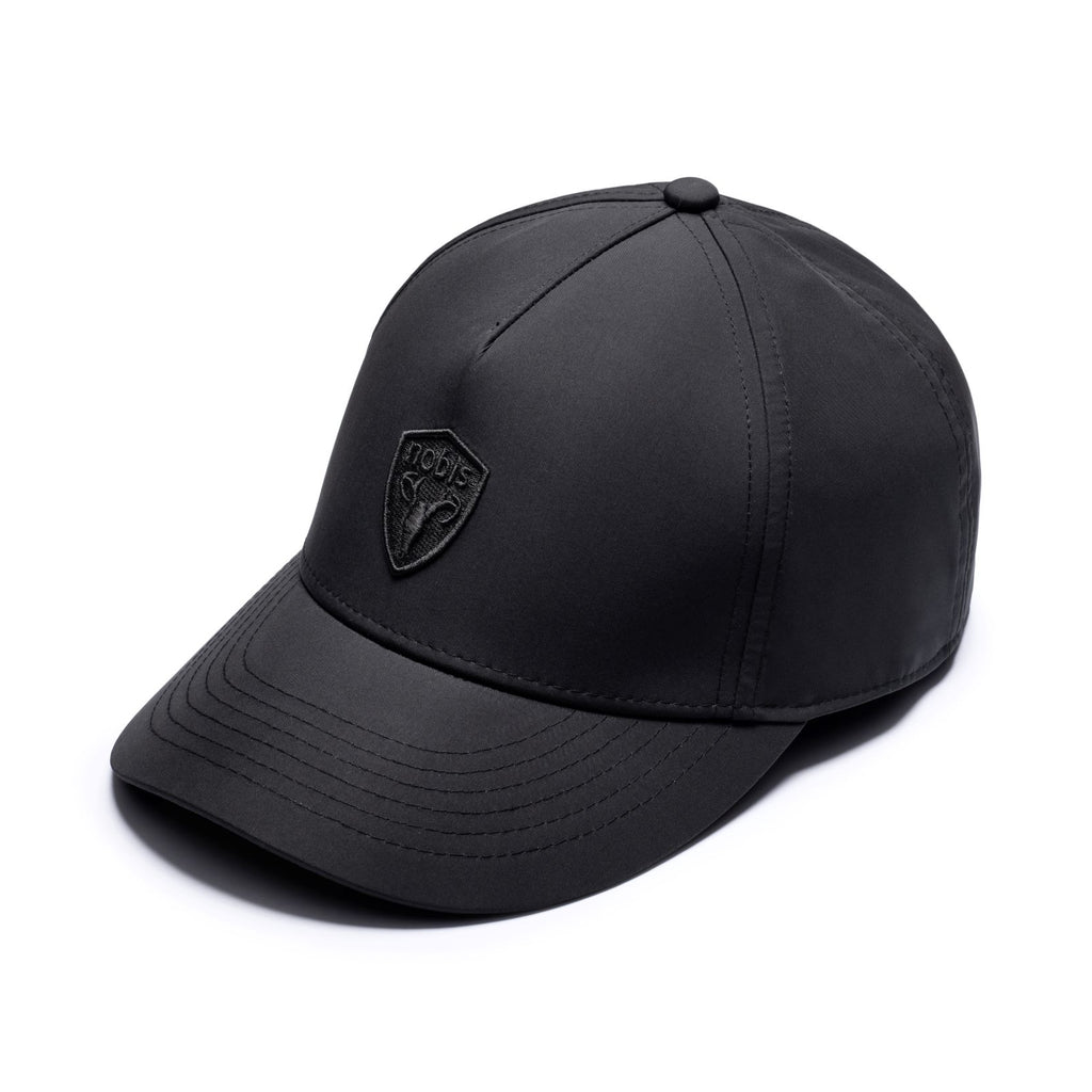 Five panel baseball hat with adjustable back in Black | color