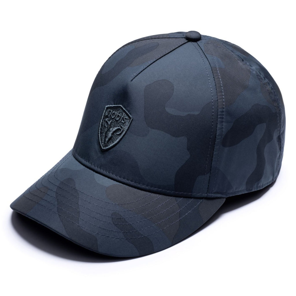 Five panel baseball hat with adjustable back in Navy Camo| color