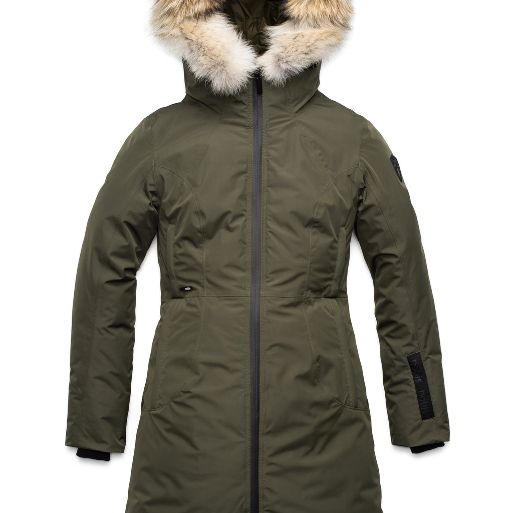 Ladies thigh length down-filled parka with non-removable hood and removable coyote fur trim in Fatigue | color