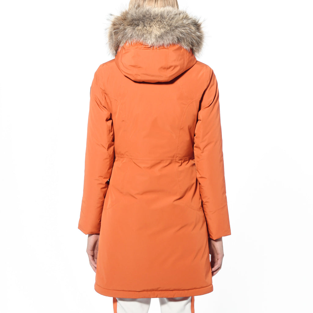Ladies thigh length down-filled parka with non-removable hood and removable coyote fur trim in Atomic | color