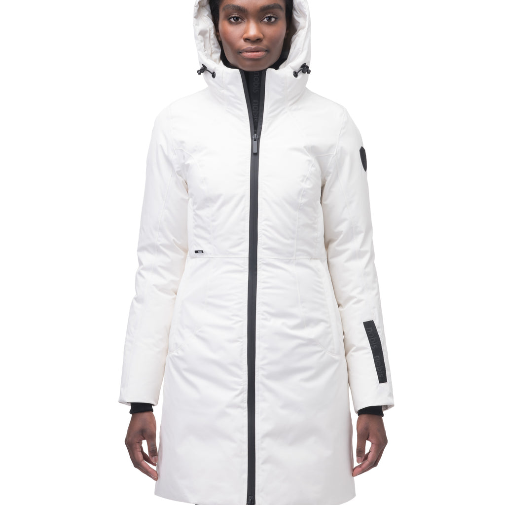 Ladies thigh length down-filled parka with non-removable hood and removable coyote fur trim in Chalk | color