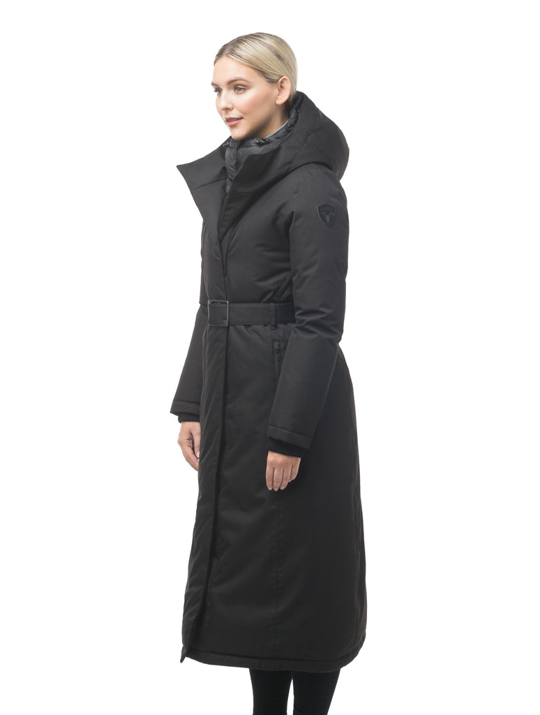 Women's knee length down filled hooded parka with an attached inner vest and hood in Black| color