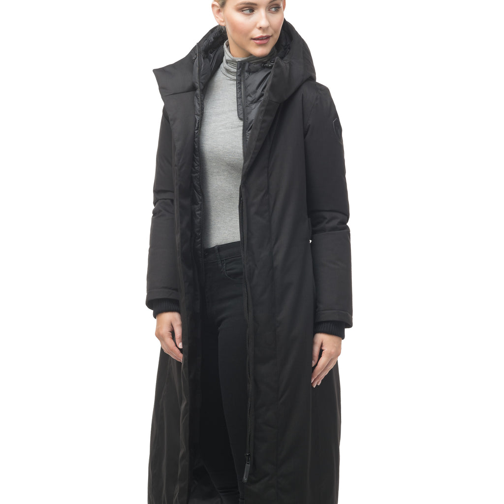Women's knee length down filled hooded parka with an attached inner vest and hood in Black | color