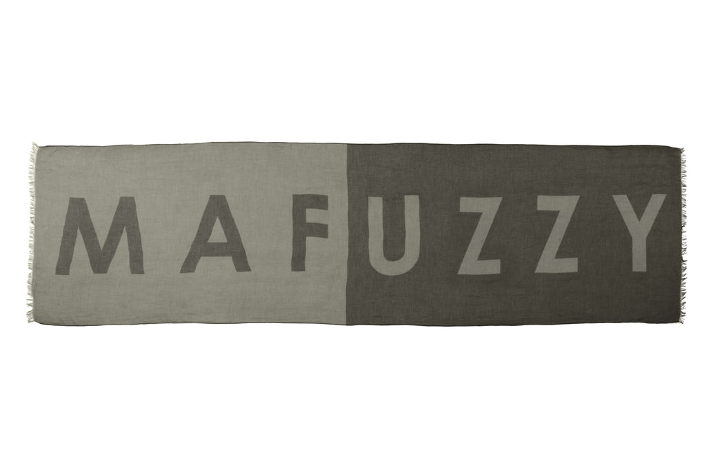"Six and a half foot long, unisex linen blend scarf with ""MAFUZZY"" text print in Dusty Olive