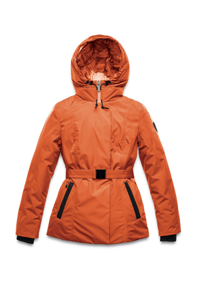 Ladies hip length down-filled parka with non-removable hood and adjustable belt in Atomic| color