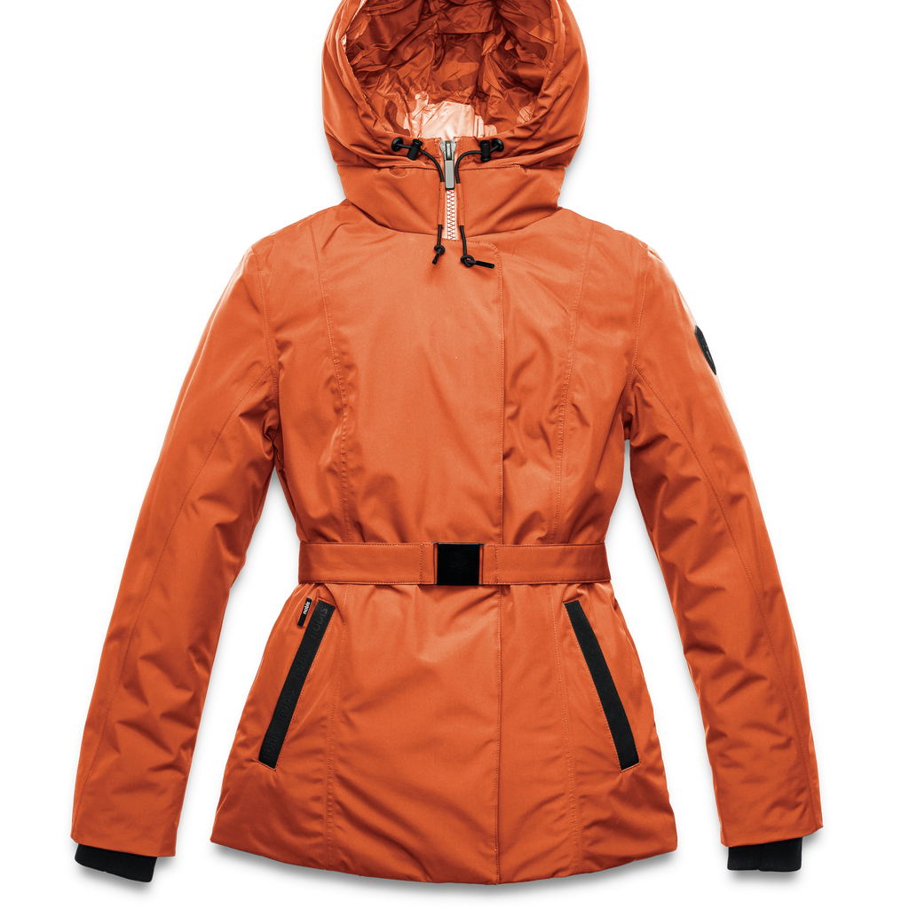 Ladies hip length down-filled parka with non-removable hood and adjustable belt in Atomic | color