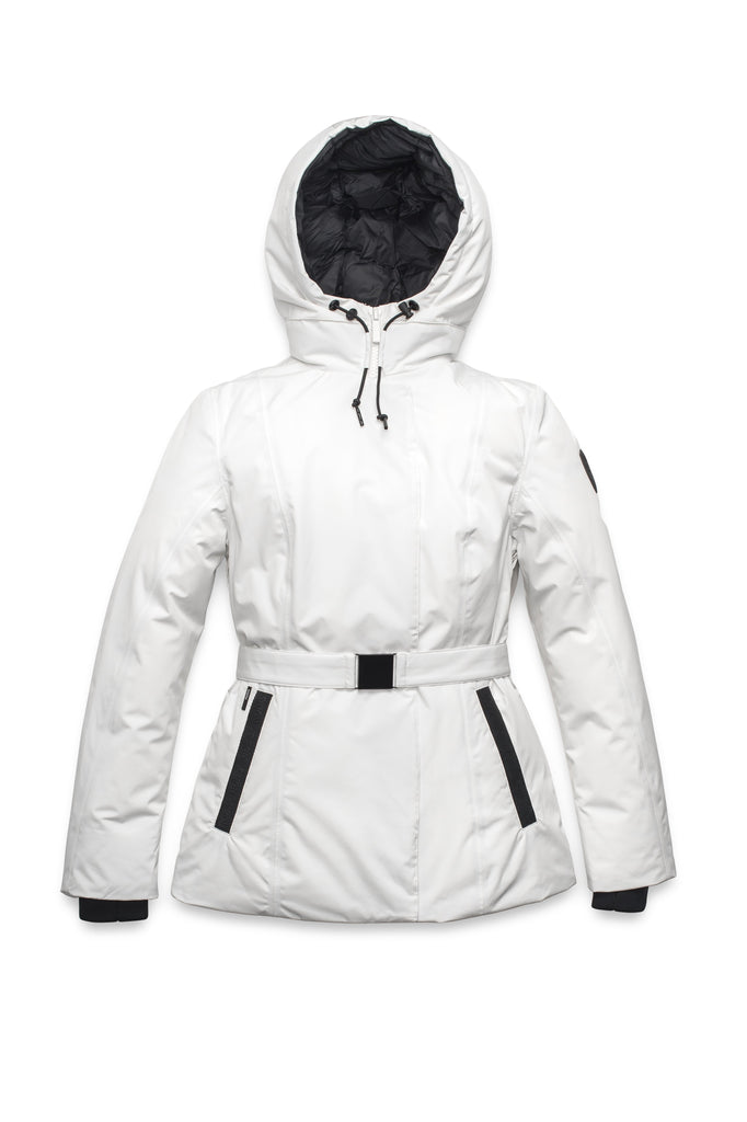 Ladies hip length down-filled parka with non-removable hood and adjustable belt in Chalk| color