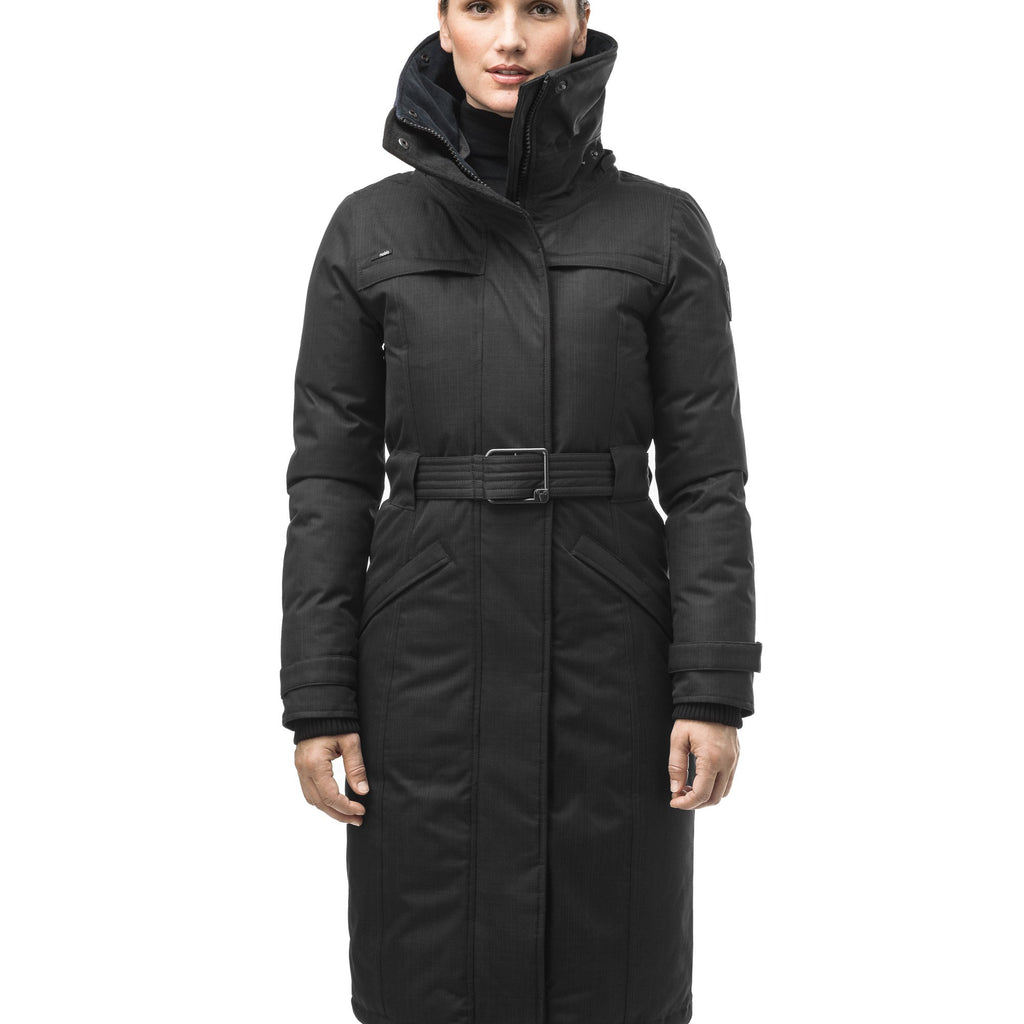 Women's knee length down filled parka with a belted waist and fully removable Coyote and Rex Rabbit fur ruffs in CH Black | color