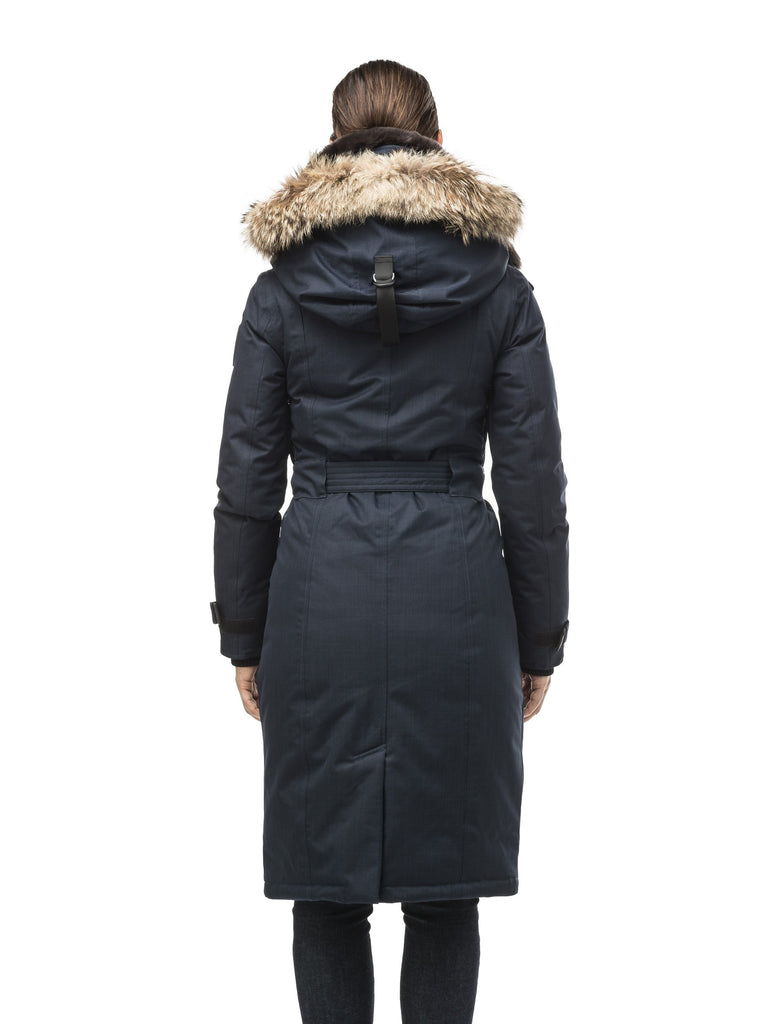 Women's knee length down filled parka with a belted waist and fully removable Coyote and Rex Rabbit fur ruffs in CH Navy| color
