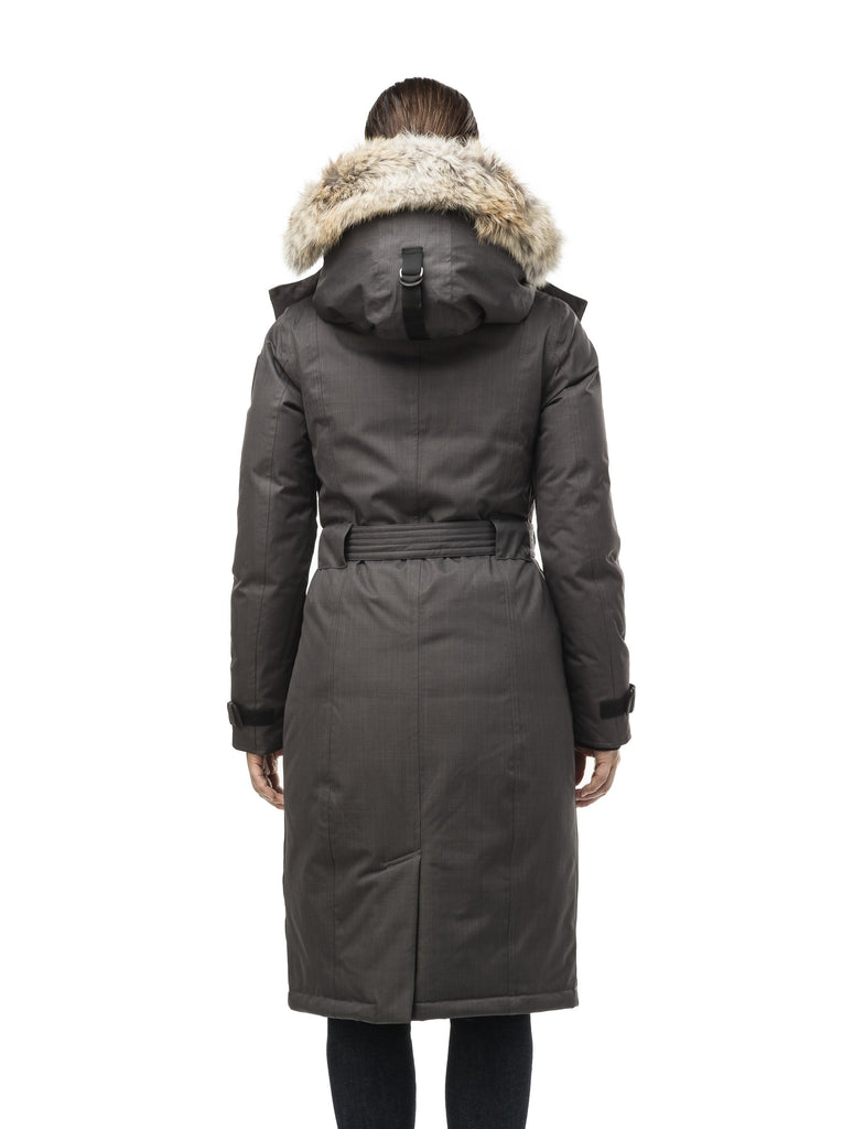 Women's knee length down filled parka with a belted waist and fully removable Coyote and Rex Rabbit fur ruffs in CH Steel Grey| color