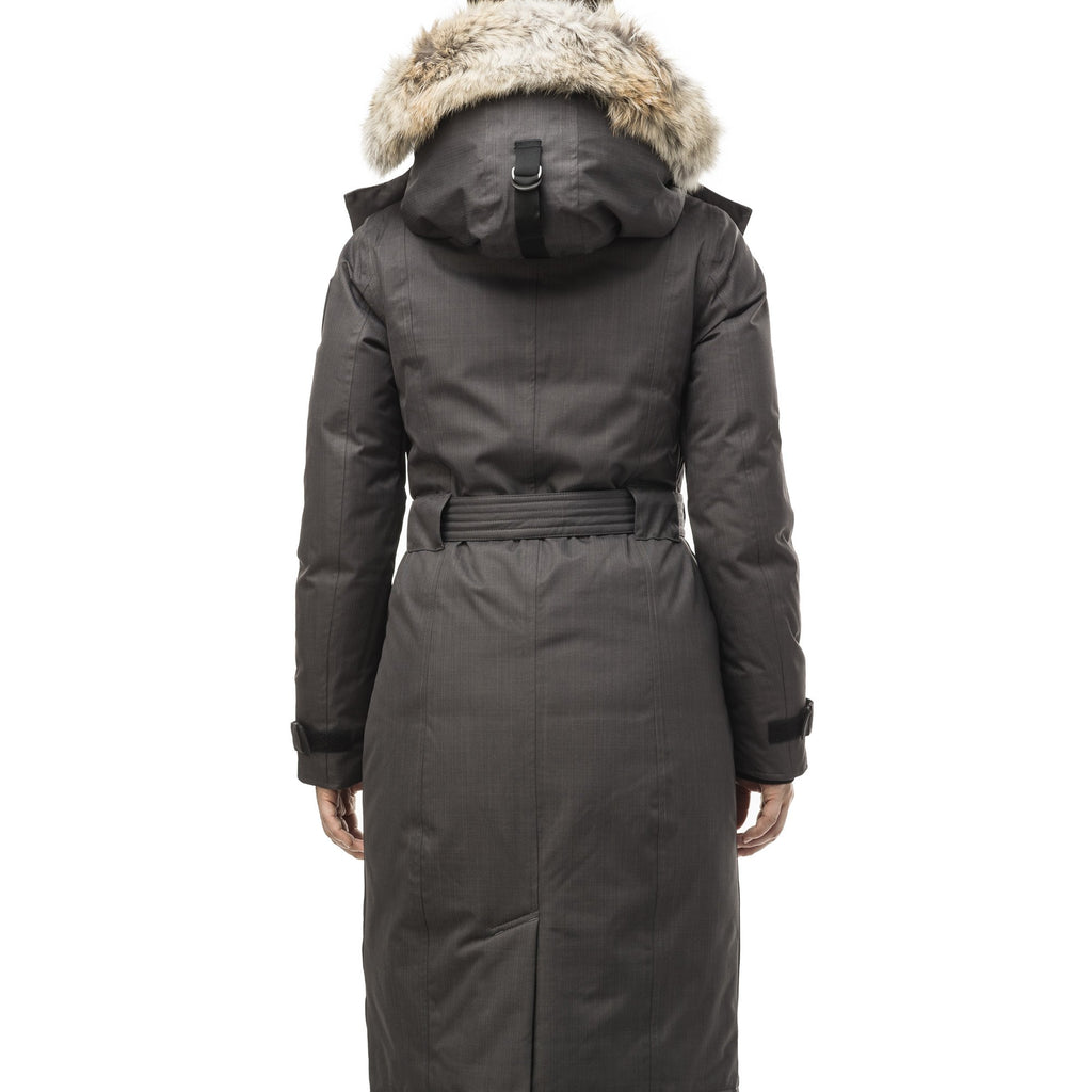 Women's knee length down filled parka with a belted waist and fully removable Coyote and Rex Rabbit fur ruffs in CH Steel Grey | color
