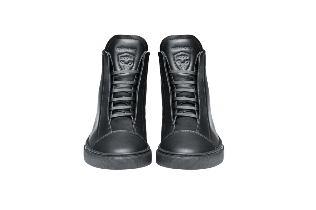Unisex high top sneaker with Nobis crest embossed on the right side of the shoe in Black| color