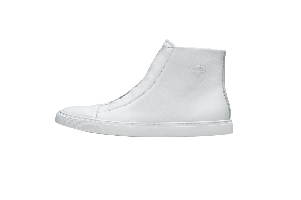 Unisex high top sneaker with Nobis crest embossed on the right side of the shoe in White| color