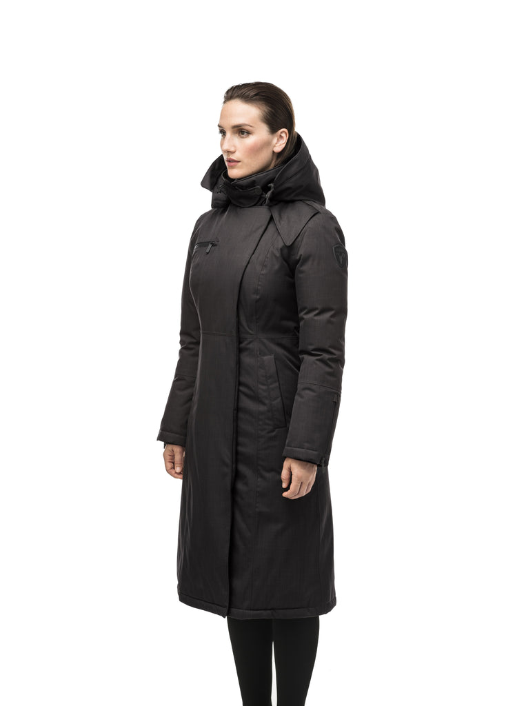 Long calf length women's trench inspired parka with removable fur trim around the hood and an asymetric closure in Black| color
