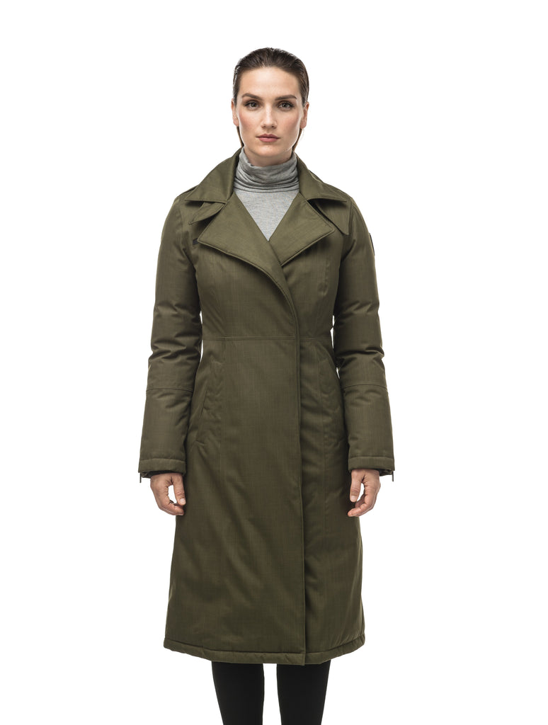 Long calf length women's trench inspired parka with removable fur trim around the hood and an asymetric closure in Fatigue| color