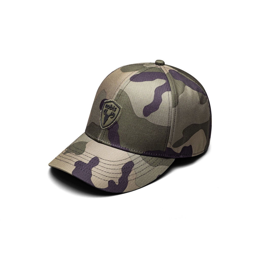 Classic ball cap with the Nobis crest on the front panel in Camo| color