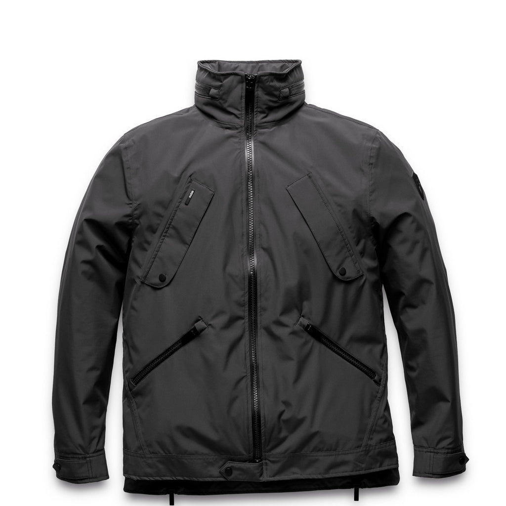 Men's waist length waterproof jacket with exposed zipper in Black | color