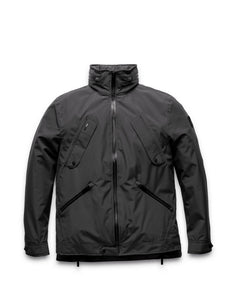 Men's waist length waterproof jacket with exposed zipper in Black