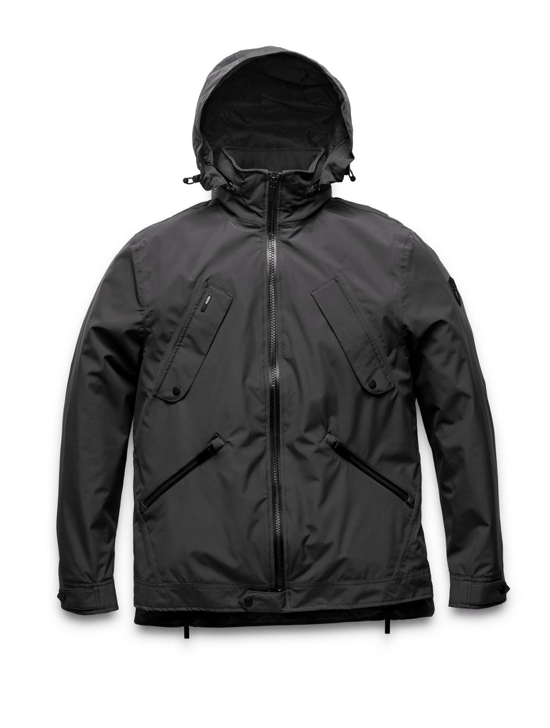 Men's waist length waterproof jacket with exposed zipper in Black| color