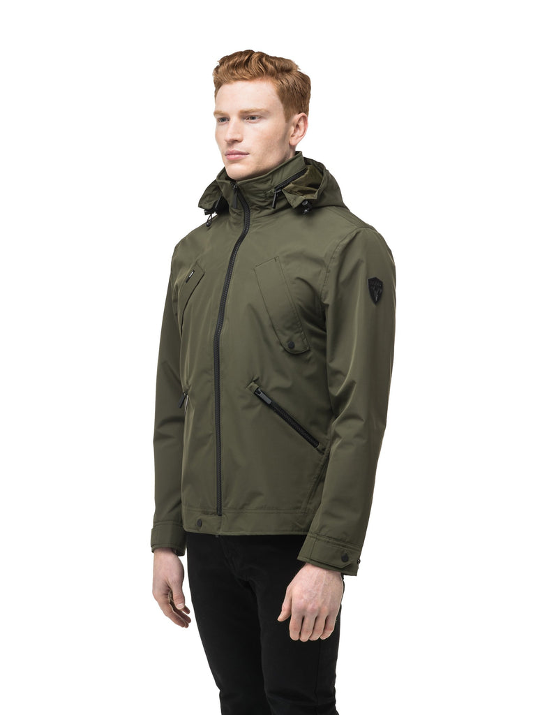 Men's waist length waterproof jacket with exposed zipper in Fatigue| color