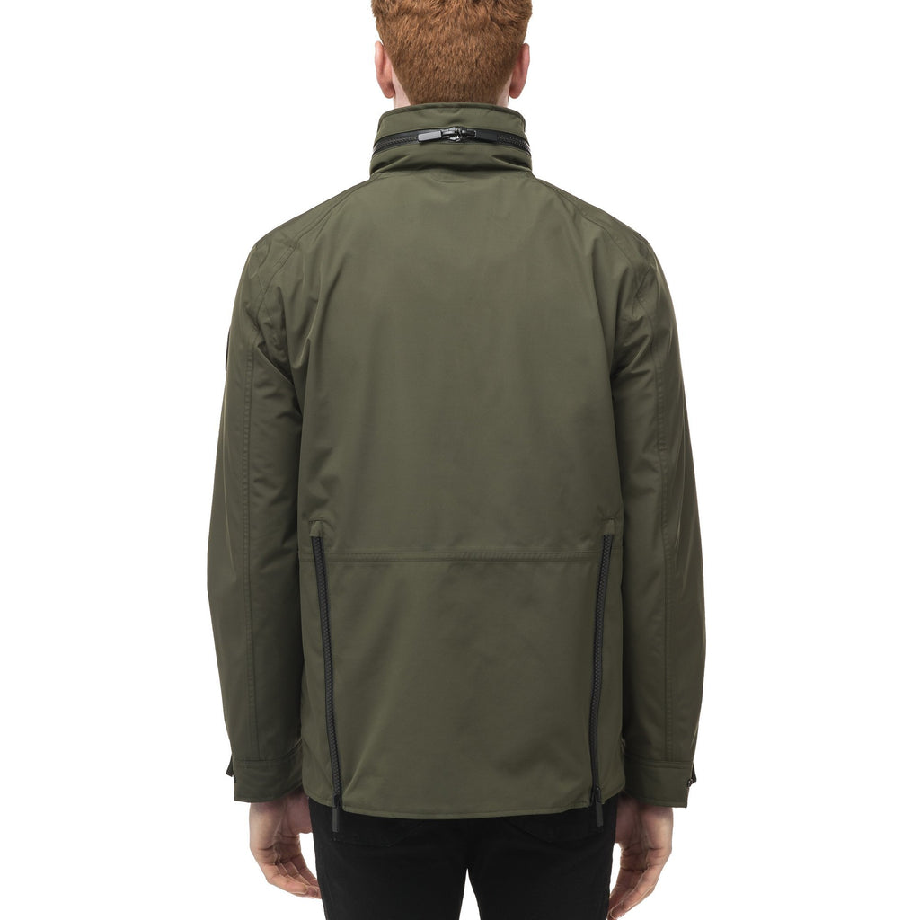 Men's waist length waterproof jacket with exposed zipper in Fatigue | color
