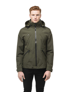 Men's waist length waterproof jacket with exposed zipper in Fatigue