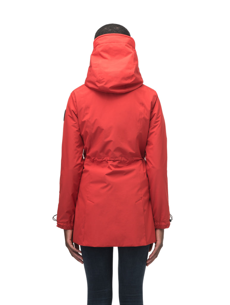 Women's thigh length raincoat with collar and non-removable hood in Vermillion| color
