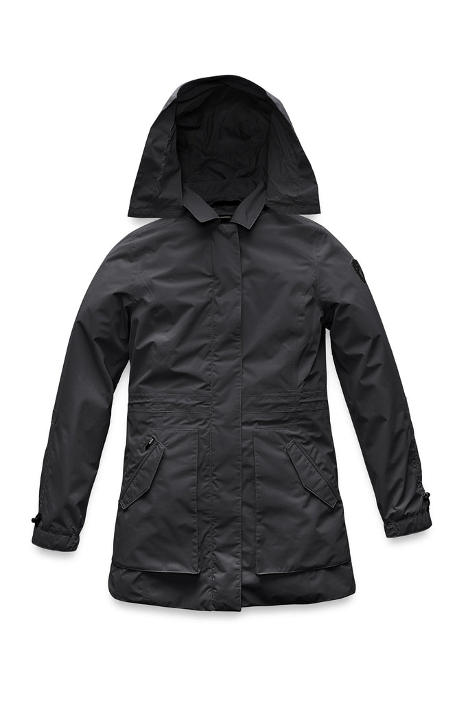 Women's thigh length raincoat with collar and non-removable hood in Black| color
