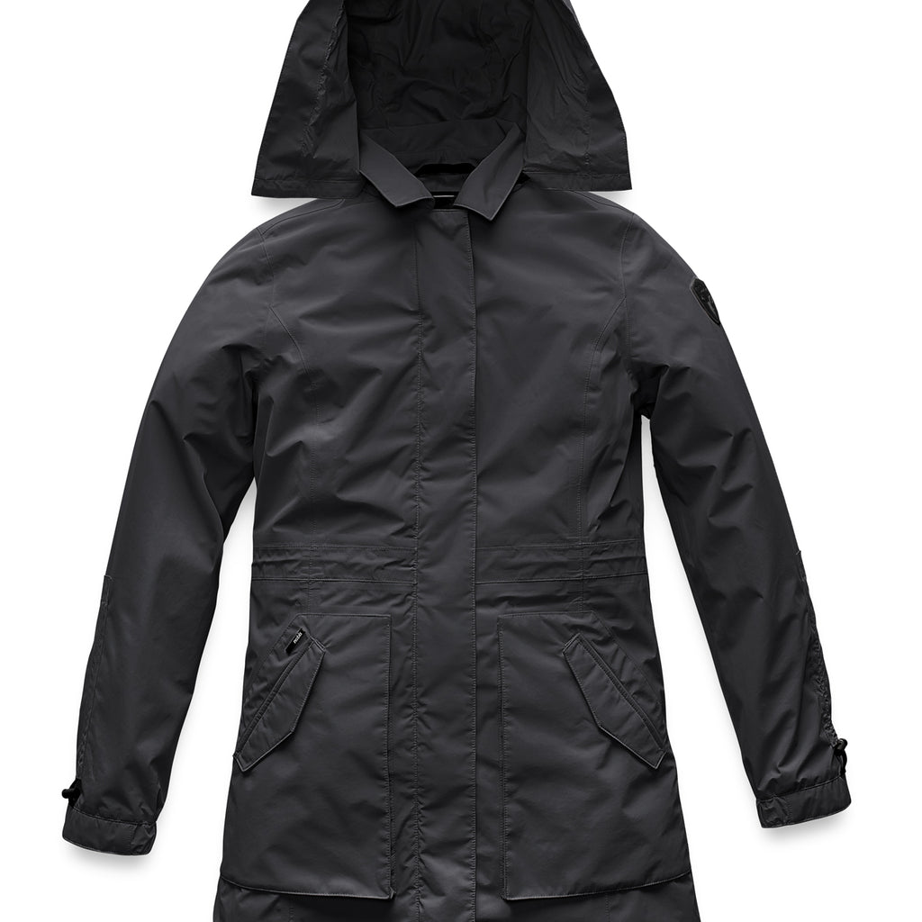Women's thigh length raincoat with collar and non-removable hood in Black | color