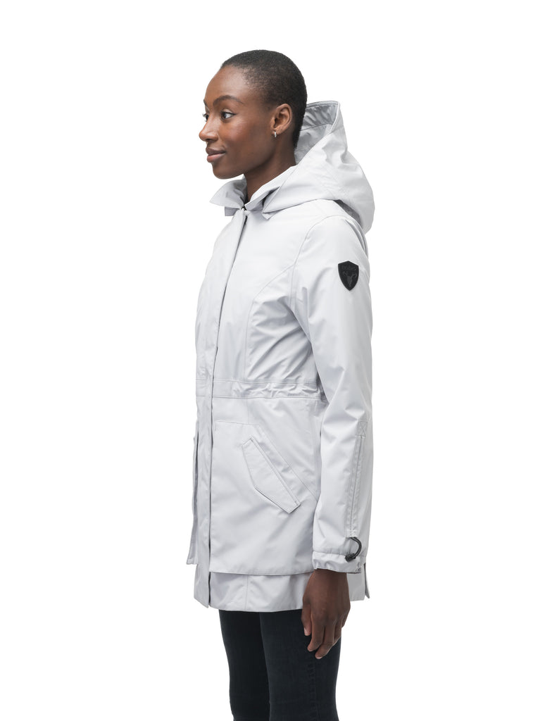 Women's thigh length raincoat with collar and non-removable hood in Light Grey| color