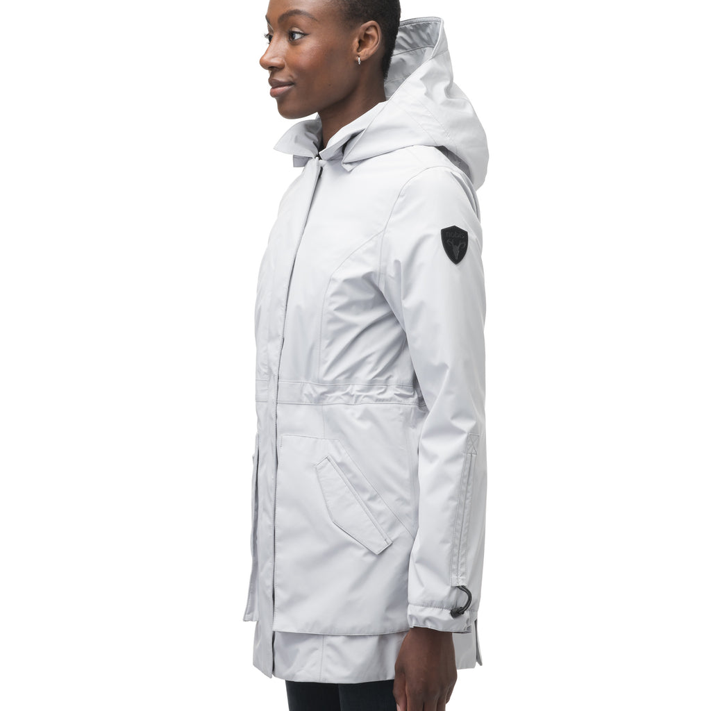 Women's thigh length raincoat with collar and non-removable hood in Light Grey | color